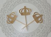 decoraciones de la fiesta de cumpleaños del príncipe al por mayor-Glitter Prince Crown Cupcake Toppers niño baby shower pastel de cumpleaños toppr comida boda cumpleaños palillos decoraciones Suministros para fiestas Evento