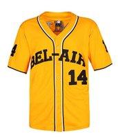 ingrosso lettere jersey-Smith # 14 Maglia da baseball della Bel Air Academy S-XXXL Yellow, 90S Abbigliamento per uomo, lettere e numeri cucitiSmith # 14 Bel Air Academy Basebal