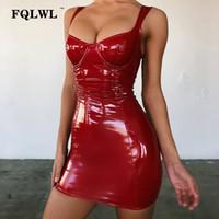 ingrosso signore vestito di lattice-FQLWL Faux Latex Pu donne vestito Backless Wrap Mini blu nero rosso vestito Bodycon Ladies sexy Night Club Short Party