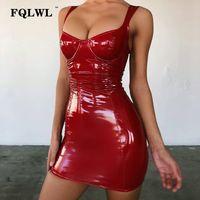 rote kleider für damen großhandel-FQLWL Faux Latex Pu Leder Kleid Frauen Backless Wrap Mini Blau Schwarz Rot Kleid Bodycon Damen Sexy Nachtclub Kurze Party