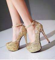 super zapatos de la boda al por mayor-Nueva Llegada de la Venta Caliente Especiales Super Moda Influx Noble Sweety Stiletto Plataforma Personalizada Novia de Oro Lentejuelas Zapatos de Boda Tacones EU34-43