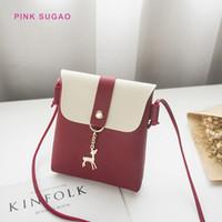renkli kadın moda tek omuz çantası toptan satış-Tek omuz çantaları asılı Pinksugao tasarımcı omuz çantaları kadınların Mini crossbody torba moda çanta rahat renk eşleştirme telefon çantası geyik