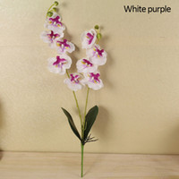 Wholesale blue orchid home decor resale online - Artificial Flower Branch Butterfly Orchid Flower With Leaves Fake Wedding Decor Home Ornamentation