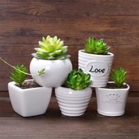 ingrosso piccoli vasi da giardino-Succulente Fleshy Flowerpot Pure Color Ceramica Lettera Love Simple Small Pots Decorazione del giardino di casa Nuovo arrivo 1 78fy E1