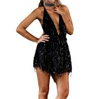 Wholesale gold empire resale online - Fashion Spring Party Dresses Sexy Dresses Women Backless Halter Black Gold Mini Dress Party Tassel Dress Women Club Wear