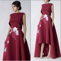 Wholesale embroidery white dress online - Elegant High Front Low Back Embroidered Flowers Prom Party Dresses Burgundy A Line Special Occasion Gowns Formal Evening Dress
