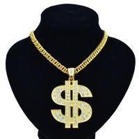 круглое ожерелье оптовых-Новый ночной клуб хип-хоп преувеличивает золотую цепочку символ доллара США золотое ожерелье мода личности кулон для мужчин и женщин 1 шт.