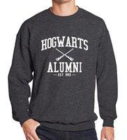 sudadera con capucha hogwarts al por mayor-Mens Hogwarts Alumni Hoodies gris negro letras blancas imprimir suéter hombre Active Fleece Hoodies envío gratis
