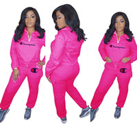 Wholesale women s hoodie tracksuit online – oversize Letter Print Tracksuits Women Long Sleeve Crop Top Pullover Pants set Hoodies Trousers Suit Sportswear OOA6939