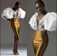 çarpıcı diz boyu elbiseler toptan satış-2020 Çarpıcı Arapça Diz Boyu Gelinlik Aplikler Sheer Derin V Boyun Altın Saten Kılıf Örgün Kokteyl Parti Elbise