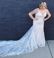 Wholesale fish mermaid wedding gown for sale - Group buy 2019 Plus Size Wedding Dress Lace Appliqued Fish Tail Custom Made Bridal Gowns For Fat Women Vestidos