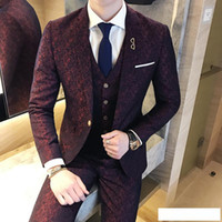 Wholesale burgundy skinny suit resale online - Mens Wedding Suits Burgundy Suits Mens Social Club Red Purple Slim fit Piece Dyed Print British Style Terno