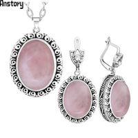 Wholesale vintage amethyst stone necklace resale online - Oval Pink Quartz Amethysts Natural Stone Jewelry Set Snail Flower Antique Silver Plated Necklace Earrings Vintage Jewelry TS480