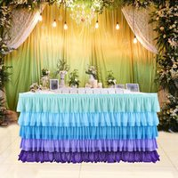Wholesale baby blue wedding table resale online - 5Layers Violet Blue Splicing Chiffon Table Skirt For Wedding Decoration Baby Shower Party Wedding Table Skirting Home Decor Y200421