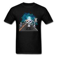 rabatt menssommerhemden großhandel-Großhandel Discount Route 66 Herren Tshirts Sommer Kleidung 2019 Männer T-shirt Cartoon Ufo Lustige Gute Spiel T Shirts Anime Mode Schwarz