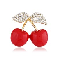 Wholesale green fresh water pearl online - Cross border e commerce supply Korean version of the fashion small fresh fruit brooch Diamond encrusted cherry brooch