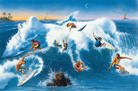 Wholesale surf paintings for sale - Group buy Jim Warren Abstract Art Ride The Wild Surf Oil Painting Reproduction High Quality Giclee Print on Canvas Modern Home Art Decor