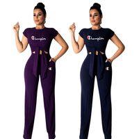 Wholesale yoga pants rhinestones resale online - Women Champions Letter Tracksuit Bow Tie T Shirt Wide Leg Pants Trousers Set CHAMPI Outfit T Shirt Jogger Sportswear Suit Clothing