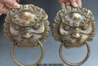 Wholesale fu foo dogs for sale - Group buy 8 quot Chinese Brass Dragon Fu Foo Dog Guardion Lion Head Mask Door Knocker Pair
