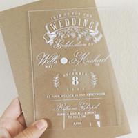 invitaciones claras al por mayor-Invitación de boda de acrílico grueso. Invitación clara Transparnet Invitaciones
