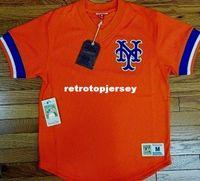leere orange baseball jerseys großhandel-Günstige NEW MITCHELL NESS New York leere Orange V-Ausschnitt MESH JERSEY Throwbacks Mens genähte Baseball-Trikots