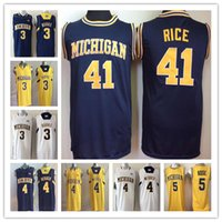 kit diy china venda por atacado-Mens Michigan Wolverines Jerseys 1 Glenn Robinson III 3 Trey Burke 5 Jalen Rose 4 Chris Webber 41 Glen arroz faculdade camisa de basquete