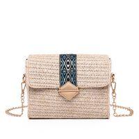 küçük el yapımı poşetler toptan satış-El yapımı moda kız hasır çanta uzun zincirli küçük kare çanta işçilik yaz plaj çantası 2 renk seçmek teklif