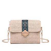 pequeñas bolsas hechas a mano al por mayor-muchachas de la manera hechas a mano de paja bolsa de cadena larga bolsa de playa bolsas pequeñas cuadrados mano de obra verano 2 colores ofrecen elegir