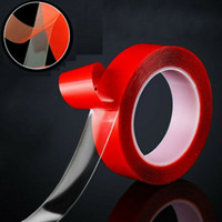 Wholesale red tape double sided for sale - Group buy 50M Long Red Magic Double sided Grip Tape Traceless Washable Adhesive Tape Multifunctional Nano Invisible Tapes Hangers Home Tool