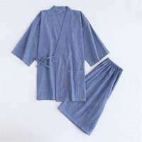 Japanese Kimono Cotton Pajamas Men Samurai Costume Bathrobe Haori Yukata Jinbei Set Sleepwear Short Sleeve Woman Japan Clothes