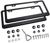 Wholesale car plate frame cover resale online - 2Pcs Holes Matte Aluminum Black License Plate Frame with Screw Caps Car Licenses Plate Covers Holders for US Vehicles