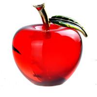 rote apfelverzierung großhandel-Hd 2,2 '' Red Crystal Apple Briefbeschwerer Pretty Crafts Artcollection Weihnachtsgeschenke Startseite Hochzeitsdekoration Tisch / Auto Ornamente J190712