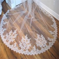 Wholesale ivory cathedral lace veil 2t for sale - Group buy 2020 Best Selling Cheap M Long Cathedral Bridal Veils Tulle T Layers Lace Appliques Sparkly Wedding Bridal Veil