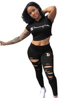 Wholesale hole girls pants resale online - Summer Champions Letter Tracksuit Women Short Sleeve Ripped Holes T shirt Crop Top Ripps pants Piece Sportswear Summer Outfits B3042