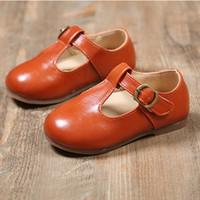 niños zapatos de princesa verde al por mayor-Nuevo verano primavera niños zapatos de bebé niñas para niños niña pequeña negro marrón verde Inglaterra cuero princesa zapatos 2018 30
