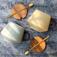 обеденный кубок оптовых-Hot Coffee Cup Ceramic Water Cup Set With Lid Spoon Office Lunch Break Leisure Coffee Fashion Mini