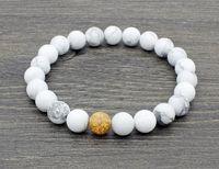 Wholesale sterling bracelet china resale online - 8mm gb5434 Reiki Chakra black stone volcanic lava Bracelet elastic white Howlite Buddha Yoga Charm stone bead Bangles