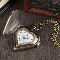 relógios de luxo venda por atacado-Linda senhora vintage amor colar pingente presente do dia dos namorados romântico relógio de bolso de quartzo chique
