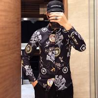 imagens de high fashion dress shirt venda por atacado-Nova marca GG L VERSAC BUR Camisas de Moda dos homens de Moda Harajuku Camisa Ocasional Homens de Luxo Medusa Preto de Ouro Fantasia 3D Imprimir Camisas de Ajuste Fino