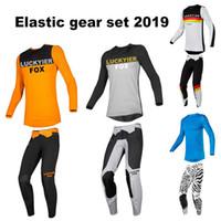 traje de carreras de jersey al por mayor-LUCKYIER FOX 2019 Jersey Pantalones Combo Gear Set Motocross Traje Off-Road Racing MX ATV Ropa Pantalón Camisa