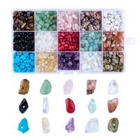 ovaler hämatitstein großhandel-Großhandel gemischt natürliche synthetische Edelsteinperlen, Chip, gemischte Stein DIY Armbänder für Schmuck machen 5 ~ 8x5 ~ 8mm, Loch: 1mm
