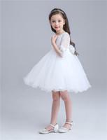 полупансион для девочки оптовых-Красивый дизайн белая принцесса юбка девочки балетная пачка летняя юбка с коротким рукавом Kids Party платья для детей девочек платье принцессы