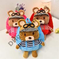 Wholesale birthday packs resale online - Teddy Bear Plush Backpacks Pack Backpacks and Stuffed Animals Models Cartoon Students School Bag Best Gifts For Kids Birthday