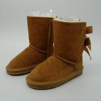 botas de nieve para niñas pequeñas al por mayor-Venta caliente Botas de nieve para niños Botas de nieve de cuero genuino para niños Botas con lazos Calzado para niños Zapatillas de deporte para niñas