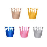 çocuklar şapkayı bağlar toptan satış-Mini Doğum Günü Taç Kap Çocuk Şapka Kravat Kordon ile Prens Prenses Modelleri Her Üç Çocuklar için Yetişkin Doğum Günü Partisi Dekorasyon 6 adet