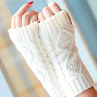 Wholesale arm warmers mittens resale online - High Quality Women Knitted Gloves Hand Warmer Winter Gloves Women Arm Crochet Knitting Faux Wool Mitten Warm Fingerless Gloves