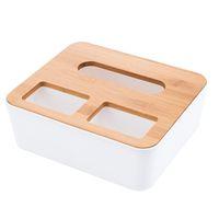 caja de pañuelos de madera al por mayor-Caja de almacenamiento de pañuelos de 1 unid Caja de dispensador de soporte de caja de madera de bambú para Hotel de almacenamiento de servilletas