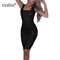 ingrosso abiti da donna in lattice-Womens New Sexy Shining Nero Tank Dress femminile senza maniche fasciatura Bodycon Latex pelle posteriore Zip Club matita abiti T5190605