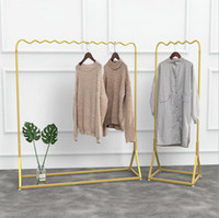 Wholesale shopping window display for sale - Group buy Golden clothing display rack Simple Shop Window Golden Clothing Rack Ground Show Rack Combination Bedroom Clothes Racks
