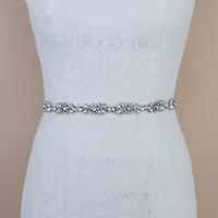 gelin kuşak beyaz boncuk toptan satış-El yapımı Siyah Fildişi Beyaz Rhinestones Diamonds Düğün Kemer Boncuk Gelin Sashes üzerinde Gelinlik Dikiş Gelinlik Sashes